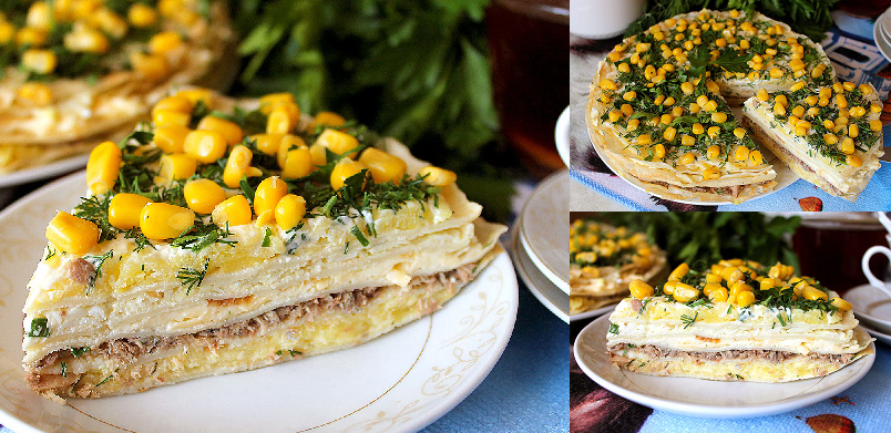 Млинцевий торт «Мімоза» - детальний рецепт