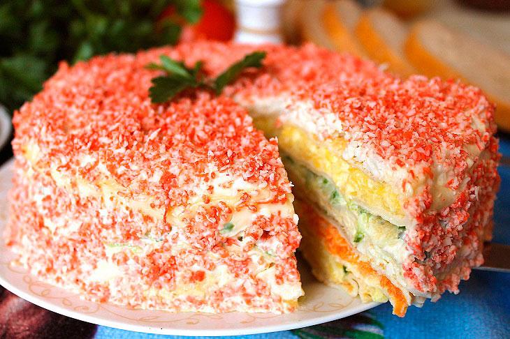 Закусочний млинцевий торт «Крабовий острів» - красивий, ніжний і соковитий