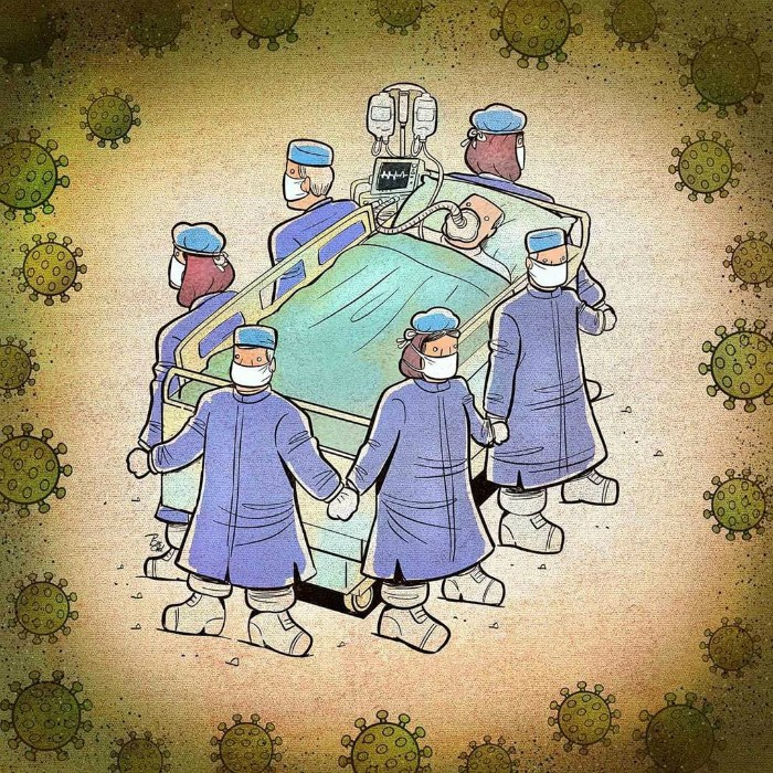 15 потужних ілюстрацій від художника, які зображують боротьбу лікарів із коронавірусом по всій планеті