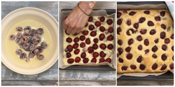 М'який, свіжий і легкий в приготуванні вишневий пиріг. Ягоди не тонуть і добре розподіляються в тісті!