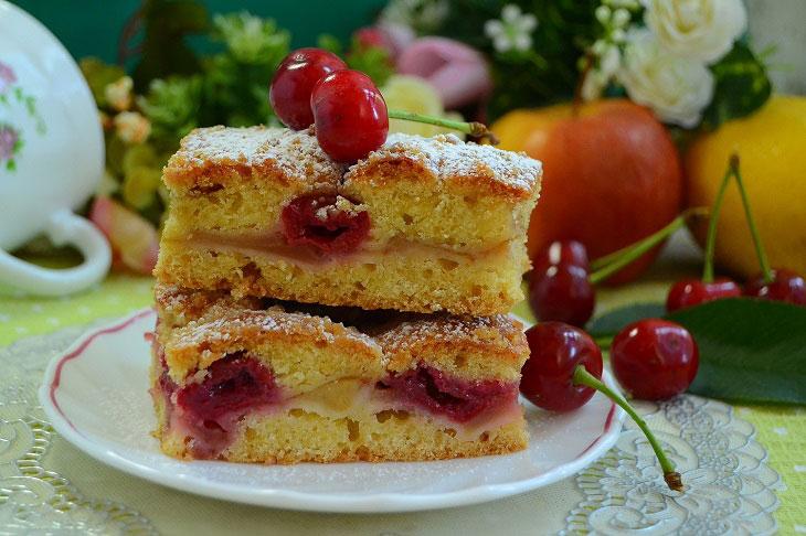 Домашній пісочний пиріг з яблуками і вишнею - дуже смачний і ароматний