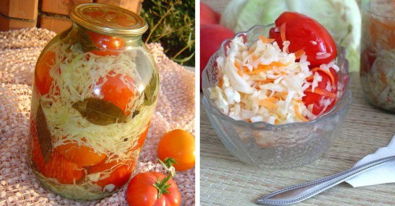 Як приготувати мариновані помідори з капустою на зиму